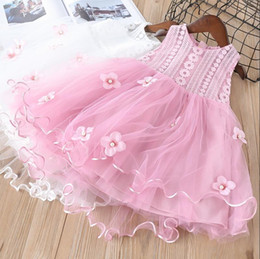 Wholesale Embroidered Dress Pearls - Everweekend Girls Bow Lace Pearls Floral Embroidered Tulle Ruffles Dress Princess Pink and White Color Spring Autumn Party Dress
