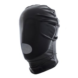 Wholesale Costume Sexy Adult - 2017 New adult Sexy Lingerie Faux Leather Latex Fetish Open Mouth Sexy Mask Spandex Head Bondage Hood unisex Sexy Toys Costumes