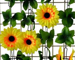 medidor de sol Rebajas Flor de simulación girasol 10 flores 2.1 metros Flor de simulación de la cadena del sol flor W178