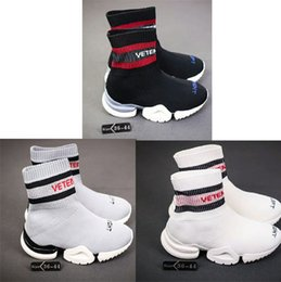 Wholesale Knee High Knit Boots - VETEMENTS SS CREW UNISES Sock Trainer Dropping RUNNING Shoes Socks Trainer Boots Knitting men Womens Girls High Top Sports Casual Sneakers