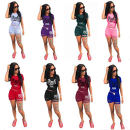 Wholesale Race Crew Shirts - PINK Tracksuit Set Women LOVE PINK Short Sleeve T Shirt Tops Tees+Ripped Holes Shorts Outfit Sportswear Jogging Yoga Gym Suit Casual Clothes