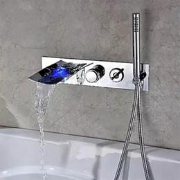 Водолазные щетки онлайн-Настенные латунь матовый никель светодиодные водопад ванна наполнитель кран с ручной душ ванная комната