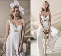 Wholesale Cheap Sexy Pants - Hihi Hod 2018 Wedding Dresses Jumpsuit Two Pieces Custom Make Sweetheart Summer Holiday Beach Bridal Pant Suit Set Cheap