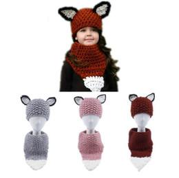 Wholesale kids fashion scarves - Fox Knit Hats Kids Scarves Caps Girls Woolen Knitted Beanie Scarf Winter Ear Protection Cap Wraps Fashion Hat Children neckerchief KKA3911