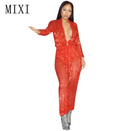 Wholesale Womens Sexy See Through Jumpsuits - MIXI Elegant Red Sequins Jumpsuit Front Zipper Long Sleeve See Through Mesh Jumpsuits Overalls Sexy Club Rompers Womens Jumpsuit