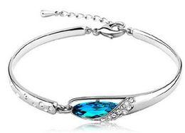 bracelets de diamant saphir Promotion Luxe Saphir Bracelets Bijoux Nouveau Style Charmes Bleu Autriche Diamant Bracelet Bracelet 925 En Argent Sterling Verre Chaussures Bijoux À La Main
