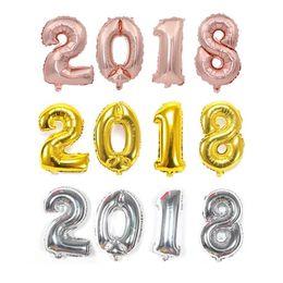 2019 globos de gran número de lámina 32 pulgadas de oro rosa número de globos digitales de plata globo de aire grande 0-9 globos de papel de aluminio para la decoración de la fiesta de cumpleaños suministros globos de gran número de lámina baratos