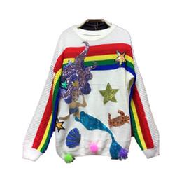 Большие свитера падения онлайн-Большой размер Морской мир блесток свитер Радуга вышивка женщины свитера пуловеры осень 2017 зимние шары вязание свитера NS868