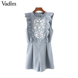 Jumpsuit marca elegante on-line-Vadim mulheres elegante floral bordado playsuits doces plissados macacão plissado senhoras marca causal macacões do vintage KZ1020