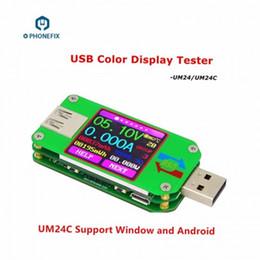 samsung ace pantalla táctil Rebajas FIXPHONE UM24 UM24C USB 2.0 Color LCD Display Tester Medidor de Voltaje Actual Medidor de Voltaje de la Batería Medida de Carga Resistencia de Cable