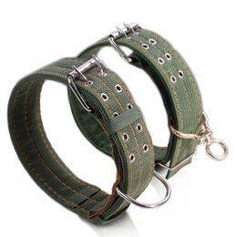 Collares de lona para perros online-Nylon fuerte lona grande collar de perro ejército verde fila doble ajustable hebilla collar de mascotas para perro medio