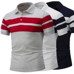 Wholesale Large Tee Shirt Men - 2018 Hot men's cotton wide stripes short-sleeved lapel POLO shirt European American style summer men's large size polo shirt Male Tops Tees