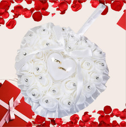 Wholesale Flower Shaped Pillow - Romantic Pink Crystals Rose Flowers Ring Box Heart Shape Cheap Wedding Jewelry Case Ring Bearer Pillow Cushion Holder Ivory Red Ring Pillow