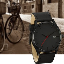 Wholesale M Glasses - 2017 Fashion Calendar Business Watch Men Military Style Sports Watches Men Luxury Quartz Casual M Watch Leather Wristwatches free shipping