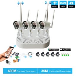 Wholesale Night Vision Bullet Ir Camera - Plug and Play 4CH 1080P HD Wireless NVR Kit P2P 1080P Indoor Outdoor IR Night Vision Security IP Camera WIFI CCTV System