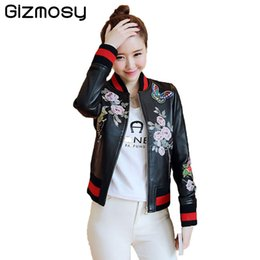 Wholesale Biker Jacket Black Women - 2017 New Embroidery Black Leather Jacket Women Zipper Motorcycle Faux Leather Coat Spring Biker Jacket Outerwear & Coats SY1262