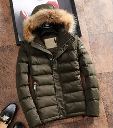 Wholesale Grey Fur Raccoon - Top famous popular Bur white duck down jacket warm winter zipper camoflage Spliced men's down parkas with Raccoon fur hooded