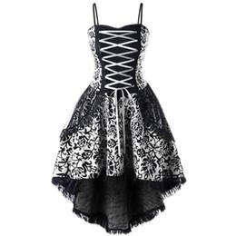 Al por mayor-CharMma Plus Size 5XL Lace Up Dip Hem Corset Dress Mujeres Vintage A línea Slim Vestido de fiesta elegante Mujer Vestido Femme Tamaño grande desde fabricantes