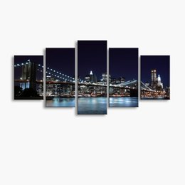 Wholesale bridge life - 5 pieces high-definition print Bridge canvas oil painting poster and wall art living room picture PF5-243