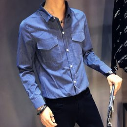 33f441fbfaae Striped Cotton Men Shirt Long Sleeve Slim Fit Casual Shirts Male 2018  Autumn New Mens Clothes Double Pockets Social Shirt Man