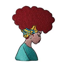 Canada Belle fille africaine Boho Afro Coiffure Style Patchs De Broderie DIY Style Vêtements De Mode Sac À Dos Décoration Applique Livraison Gratuite supplier african embroidery clothing Offre