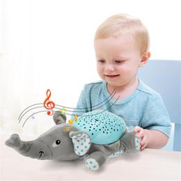 Wholesale Hippo Stuff - Yuanlebao ute Hippo Plush Sleep Doll Musical Stars Projector Night Light stuffed Soft Appease Toy for Baby Kids Children Gift