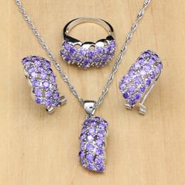 Canada De luxe 925 argent bijoux de mariée zircon cubique violet blanc zircon ensembles de bijoux pour les femmes boucle d'oreille / pendentif / bague / collier ensemble cheap purple zircon ring Offre