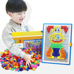 Wholesale Picture Puzzles - 296pcs Mushroom Nail Kits Puzzle Toys 3D Mosaic Picture Puzzle Drawing Board Educational Toys Children Birthday Gifts brinquedos