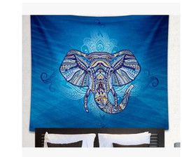 Wholesale Animal Bedspreads - 1pc wholesae Elephant Tapestry Wall Hanging Animal Twin Hippie Tapestry Blue Boho Hippy Bohemian Dorm Bedspread AEI-426
