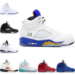 cheap for discount 51af3 e8450 Nike Air Jordan Retro Discount Männer 5 5s Basketball Schuhe Licht Aqua  Laney International Flug Rot Blau Wildleder Weiß Zement OG Metallic Schwarz  Sport ...