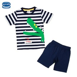 Wholesale Nova Kids Clothes - 2017 fashion designs striped kids clothes sets nova kids wear applique crocodile baby clothing set summer kids boy casual suits
