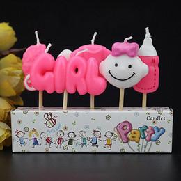 Ragazzi di dolciumi per bambini online-Candela Baby Girl and Boy Baby Shower Candele Torta Compleanno Candele decorative Stella e Luna Forniture per feste