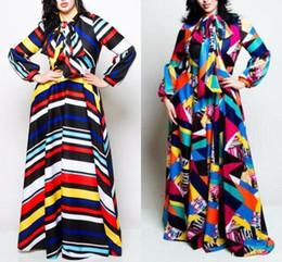 Argentina Más el tamaño de las mujeres a rayas vestido maxi con arco otoño invierno linterna manga Colorblocked vestido suelto mujeres Robe Femme FS5114 Suministro