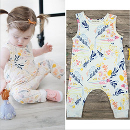 Wholesale White Baby Bodysuits Wholesale - Baby Girls Branch Print Sleeveless Jumpsuits 2017 Kis Boutique Clothing Euro America Hot Sale Toddlers Infant Girls Vest Rompers Bodysuits