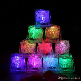 Wholesale Led Ice - RGB flash led cube lights Ice Cubes lamps Flash Liquid Sensor Water Submersible LED Bar Light Up for Club Wedding Party Champagne Tower