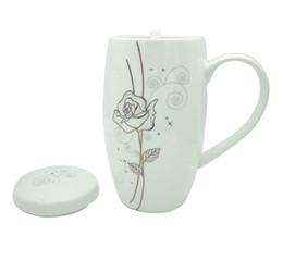 Bone China Coffee Mug / Cup con coperchio e cucchiaio, tazza da tè in porcellana bianca pura cinese da