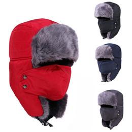 maschere di caccia Sconti Russo Bomber Cappelli Donna Uomo Inverno Antivento Cappello da sci con paraorecchie e maschera cappelli caldi Trooper Trapper Cap Caccia cacciatori Cap