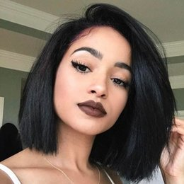 Wholesale Yaki Lace Front Wig Short - Yaki Straight Bob Wigs With Baby Hair Peruvian Virgin Hair Glueless Full Lace Human Hair Wigs For Black Women