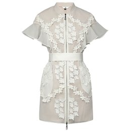 Wholesale Designer Lady S Dresses - New Retro Runway Designer Dress Lady 2018 High Quality Stand Collar Butterfly Sleeve Lace Patchwork Organza Women Short Dress