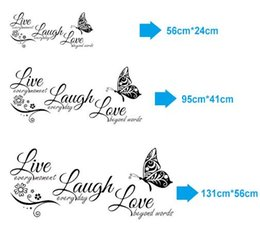 Wholesale Laugh Decor - Free shipping ive Laugh Love Butterfly Flower Wall Art Sticker Modern Wall Decals Quotes Vinyls Stickers Wall Stickers Home Decor Living Roo
