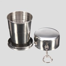 Wholesale Portable Steel - New 75ml 150ml 250ml Folding Cup Stainless Steel Portable Outdoor Travel Camping Collapsible Cup Metal Telescopic Keychain Mugs HH7-411