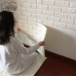 Wholesale Brick Wallpaper Sticker - PE Foam 3D Wall Stickers Safty Home Decor Wallpaper DIY Wall Decor Brick Living Room Kids Bedroom Decorative Sticker White