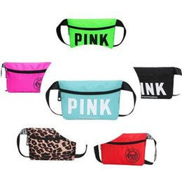 Wholesale Small Belt Bags - Waist Belt Bag Love Pink Fashion Pouch Packs Outdoor Waterproof Cosmetic Bag Fashion Handbags Purses Beach Pink Letter Small Storage Bags