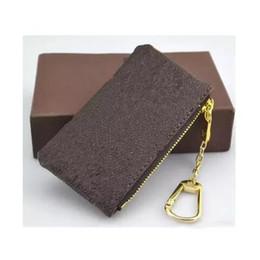 Leather coin key online-4 colores KEY POUCH Damier cuero tiene alta calidad famoso clásico diseñador de mujeres titular de la clave monedero pequeño cuero Key Wallet