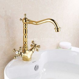 Wholesale Polished Gold Faucets - Polished Brass Gold Colors Double Cross Handle Swivel Bathroom Kitchen Sink Vessel Lavatory Faucet Mixer Tap asf096