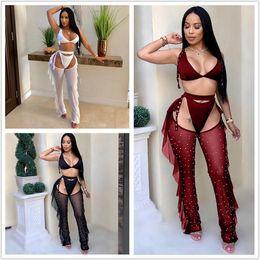 f08ba596e0f98 Crazy Selling 3 Piece Set Bra Top Thongs Pearls Ruffle Sheer Mesh Pants  Night Club Outfits Fashion Bikini Trousers Suit New Arrival