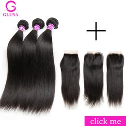 Wholesale affordable hair - Gluna Silky Straight Brazilian Hair Bundle Deals With Closure 4*4 Inch Affordable Brazilian Hair Bundles Free Shipping