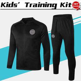 Учебные логотипы онлайн-Детский AJ логотип обучение равномерное 2019 PSG черный с длинным рукавом куртка костюм комплект 18/19 Париж Сен-Жермен Красный футбол костюмы куртка+брюки для детей