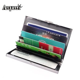 Wholesale Iron Card - AEQUEEN New Waterproof Business ID Credit Card Holder Stainless Iron Men Women Metal Bank Cards Wallet Case Boxes Cassical Style