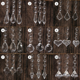 Wholesale Table Crystal Chandelier Wholesale - 10pcs Acrylic Crystal Beads Drop Shape Garland Chandelier Hanging Party Decor Wedding Decoration Centerpieces For Tables